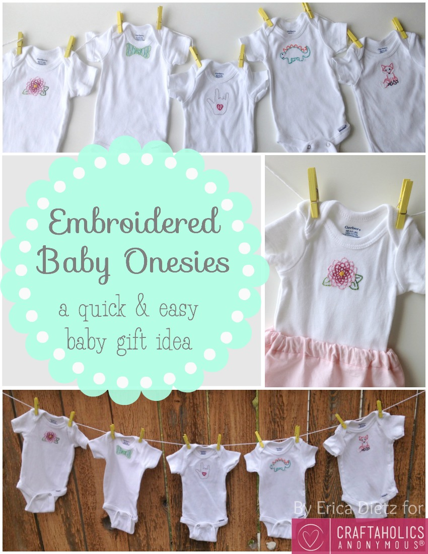 Craftaholics anonymous baby gift idea embroidered