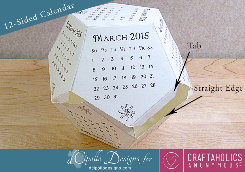 12-Sided Calendar 2015 SVG Cut File dCipollo Designs