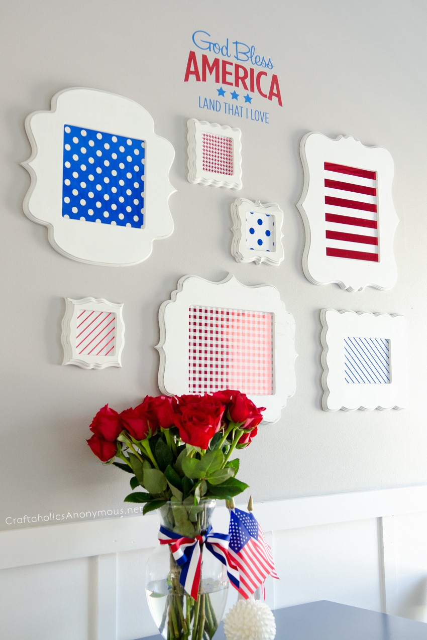 4th of July Decor || Super easy DIY patriotic decorations! Love this gallery wall.