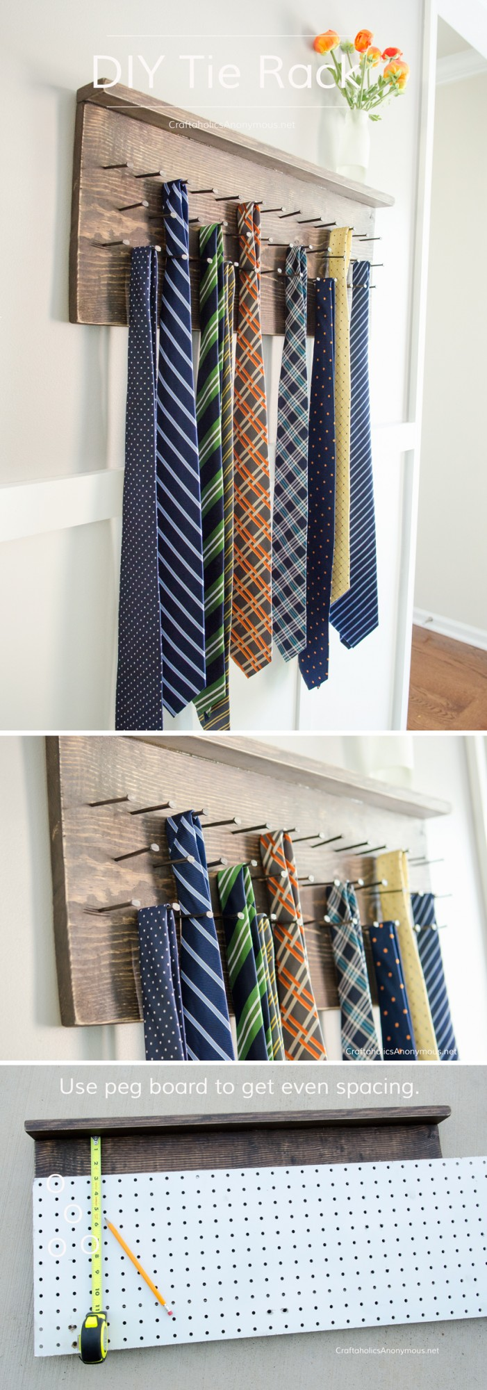 Ana white diy tie rack tutorial featuring craftaholics for Craft ideas for men s gifts