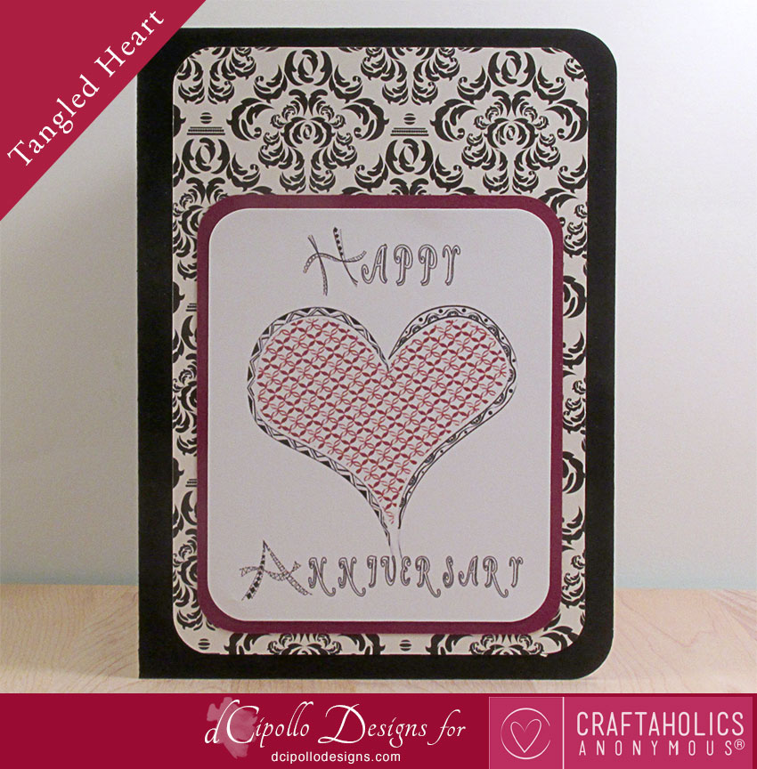 Tangled Heart Card SVG cut file from dCipollo Designs