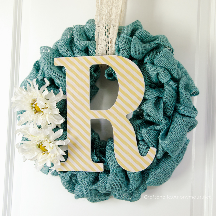 Craftaholics anonymous easy burlap summer wreath for What to make with burlap