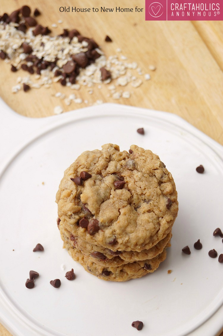 Delicious Soft and Chewy Peanut Butter Oatmeal Chocolate Chip Cookies! No mixer required!