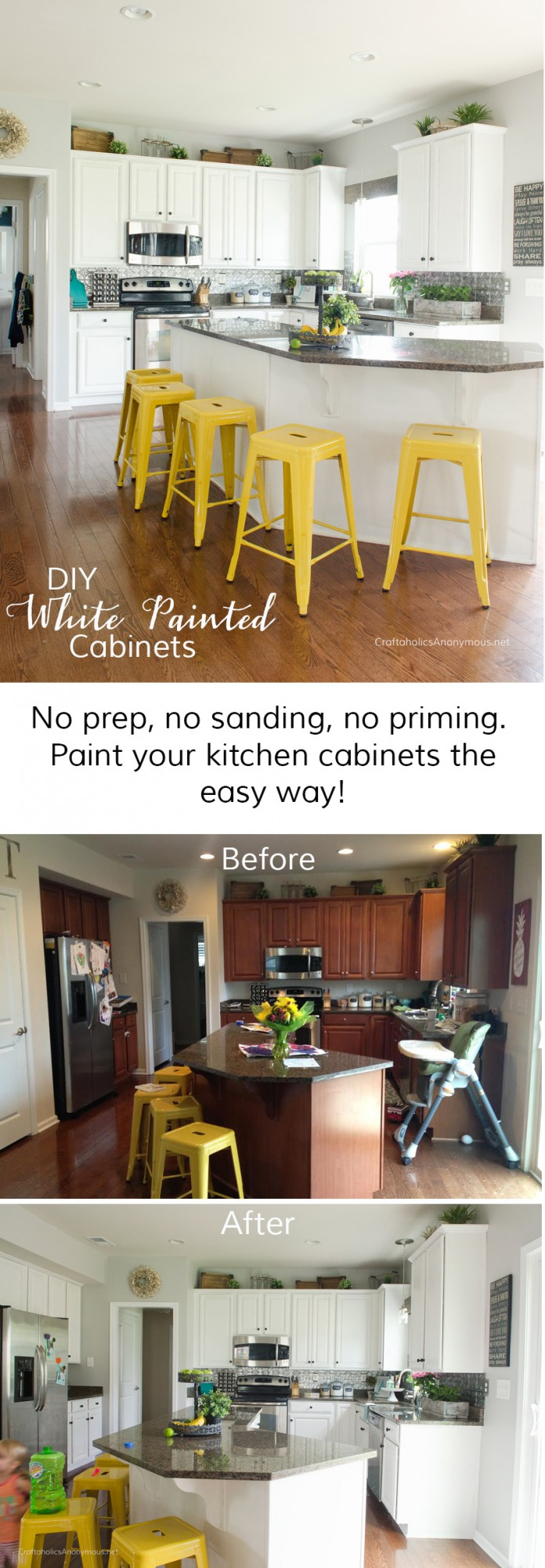 How to paint Kitchen Cabinets white with no prep using chalk paint powder.