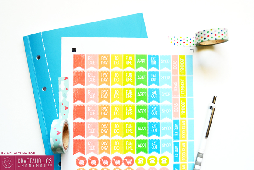 Daily and weekly planner stickers printable with SVG cut file || Love the rainbow colors!
