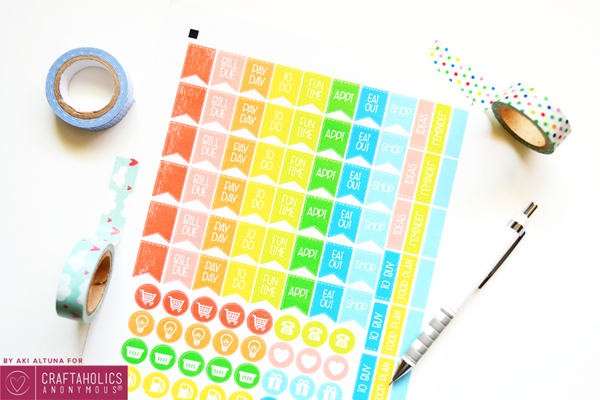 Make your own Planner Stickers with this Free printable file and SVG cut file