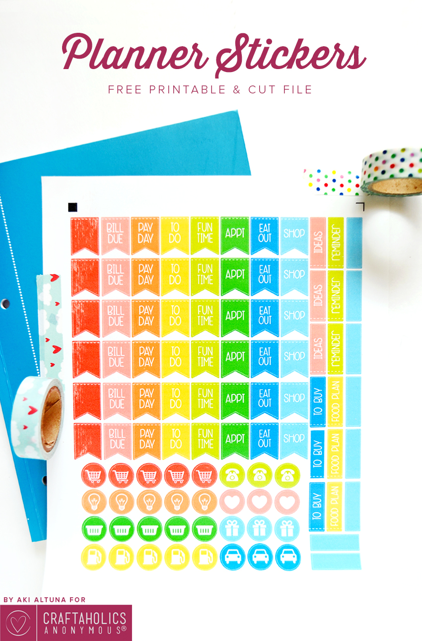 Free Printable Planner Stickers with SVG cut file || love the bright rainbow colors!