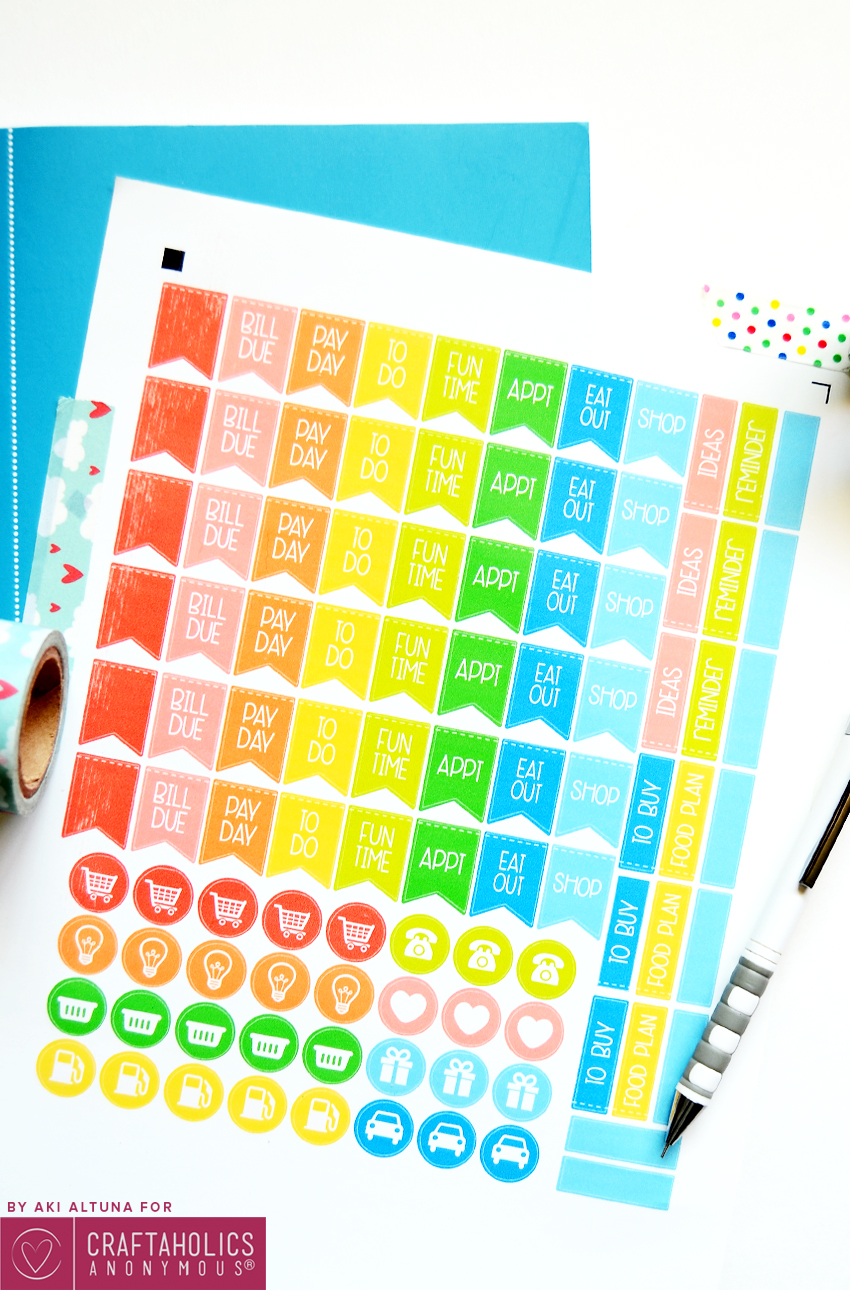 Rainbow Planner Stickers free printable + SVG cut file to make your own cute planner stickers!
