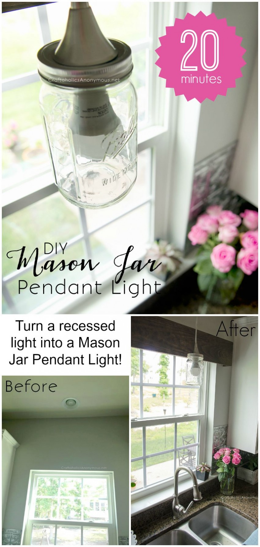 DIY Mason Jar Pendant light :: Super easy way to turn a recessed light into a Mason Jar light for only $20.