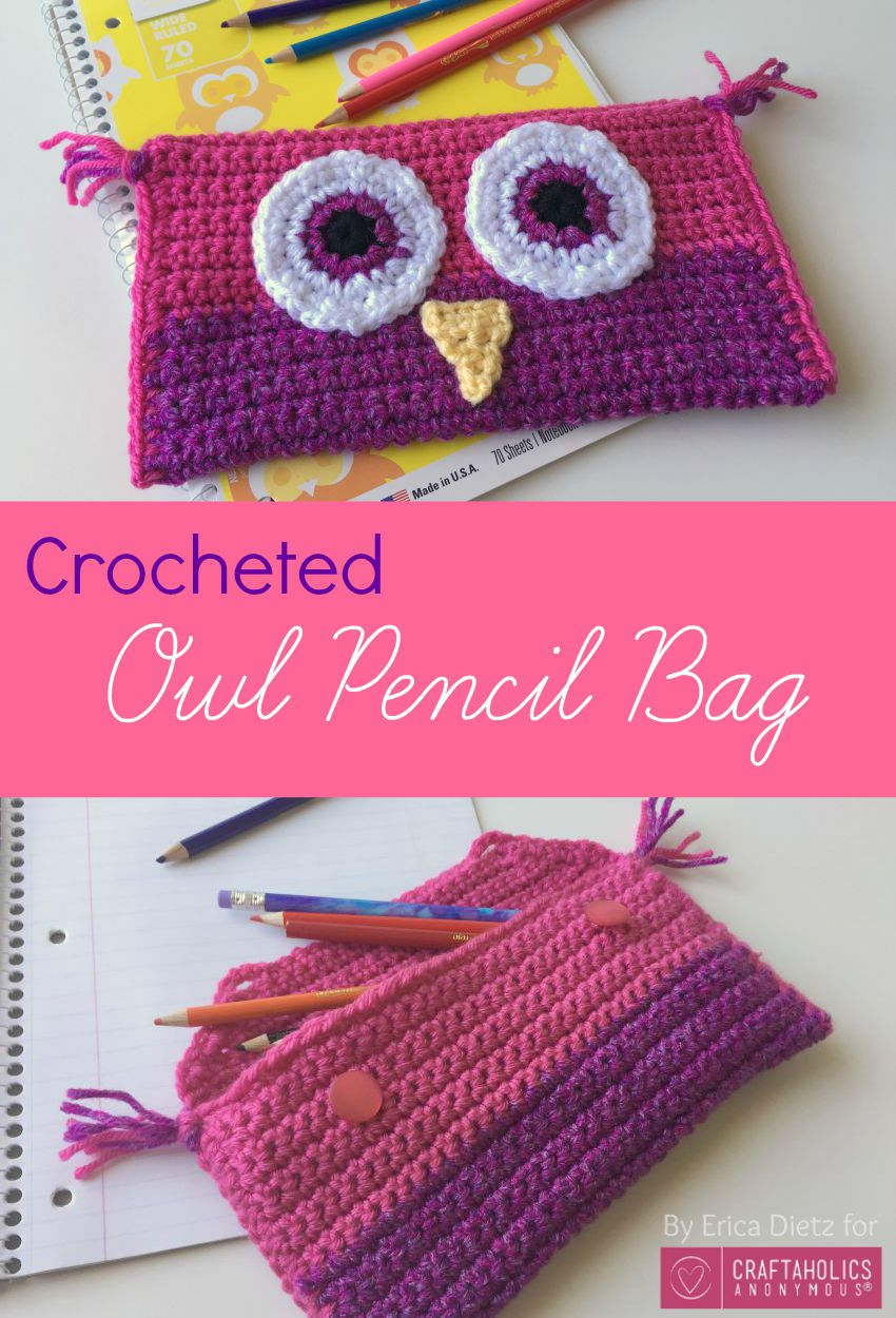 Crocheted Owl Pencil Bag