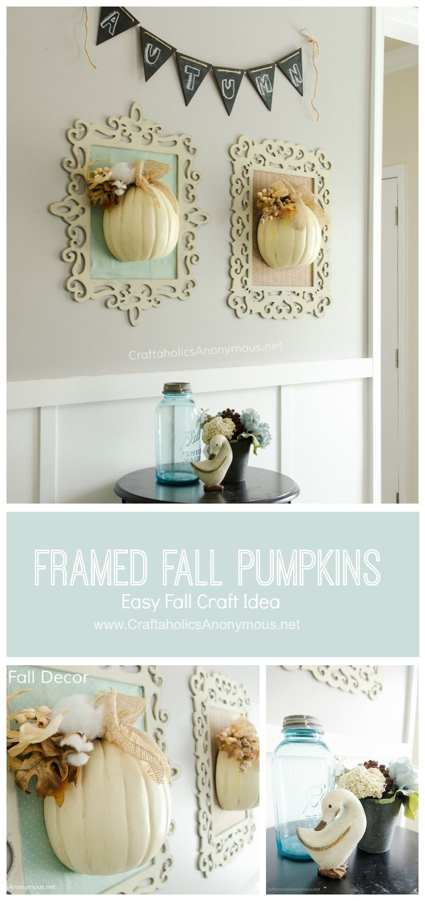Framed Fall Pumpkins collage || This is a great way to use those fun curvy frames!