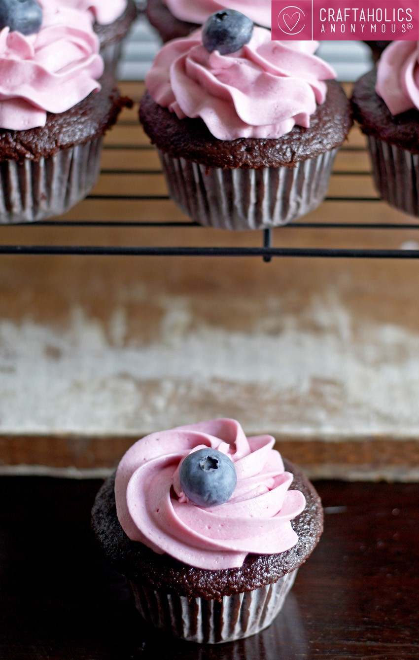 Blueberry Almond Cupcakes With Blueberry Buttercream Frosting Recipe ...