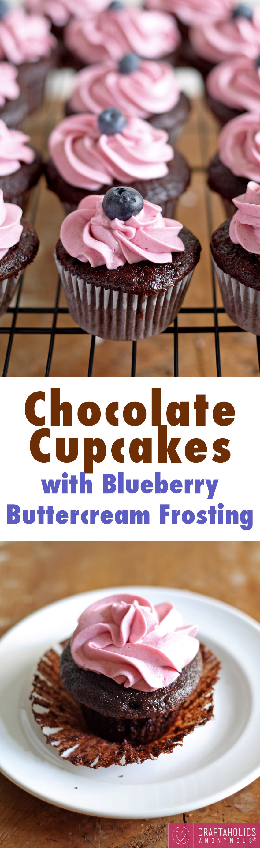 Chocolate Cupcakes with Blueberry Buttercream Frosting