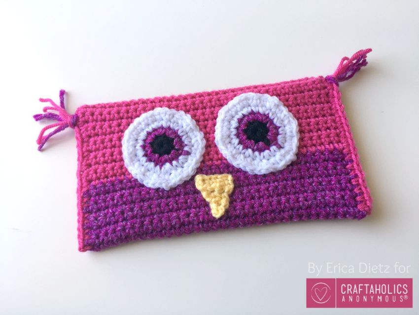 pink owl pencil case