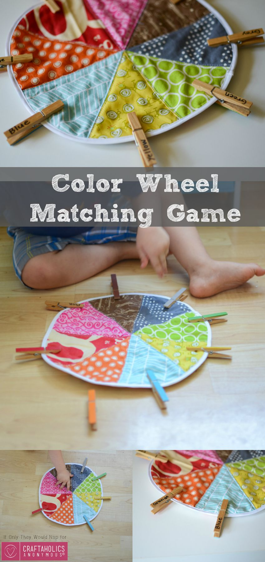 DIY Tutorial for Cute Color matching Game for Preschoolers and Toddlers on www.craftaholicsanonymous.net