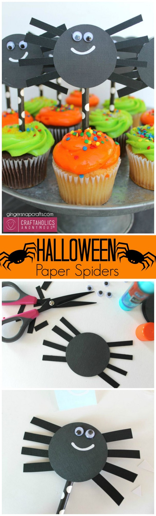 Halloween Paper Spiders Craft || Could put on cupcakes, hang from ceiling with fishline, or glue to twine for a garland. Or have pieces all cut out and let kids assemble for a great Kids Halloween Craft idea.