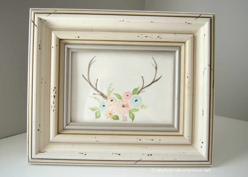 Hand painted antlers and flowers art