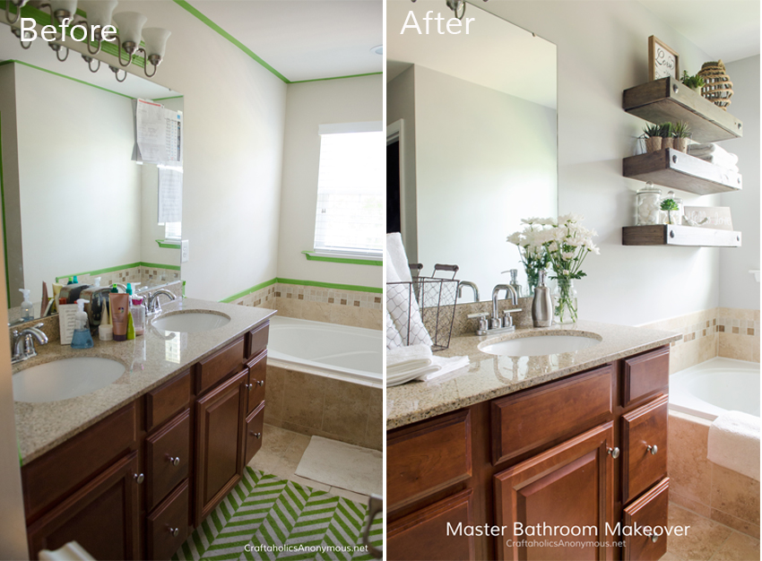 master bathroom update before and after love the floating shelves