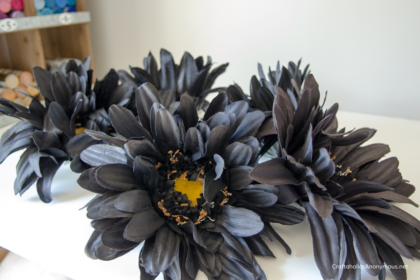 black-silk-flowers