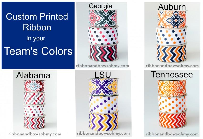 custom printed ribbon in team colors
