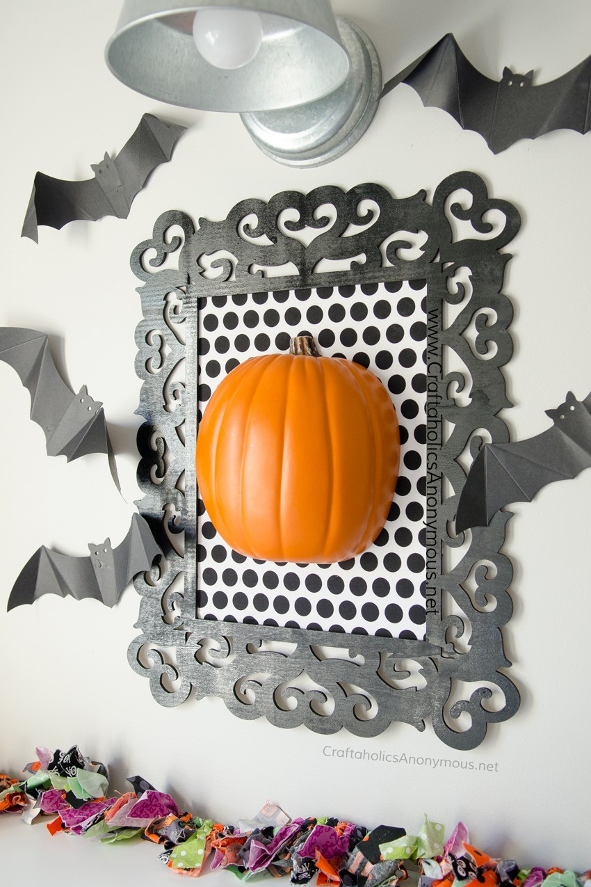 DIY Framed Pumpkin Halloween Decor Craft idea