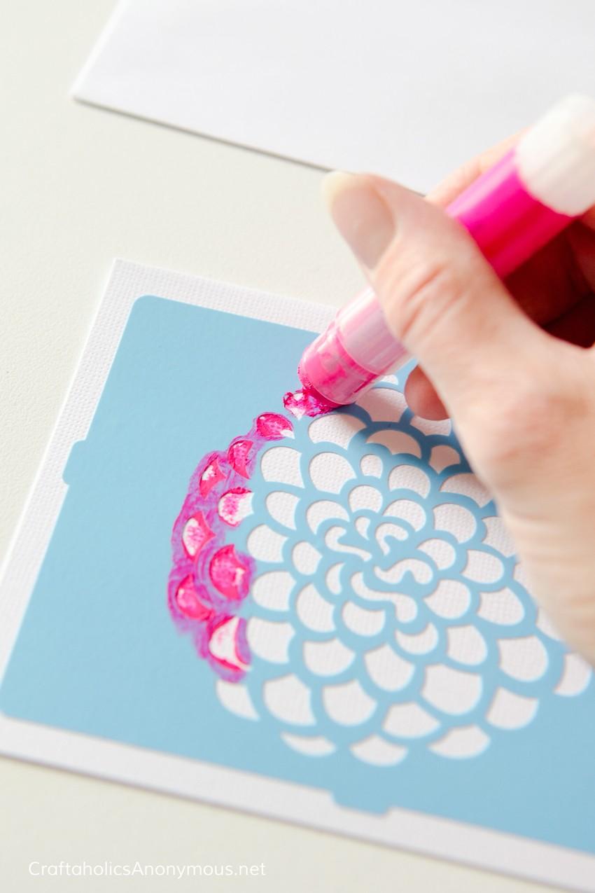 Gelatos® craft idea :: Stenciled flower