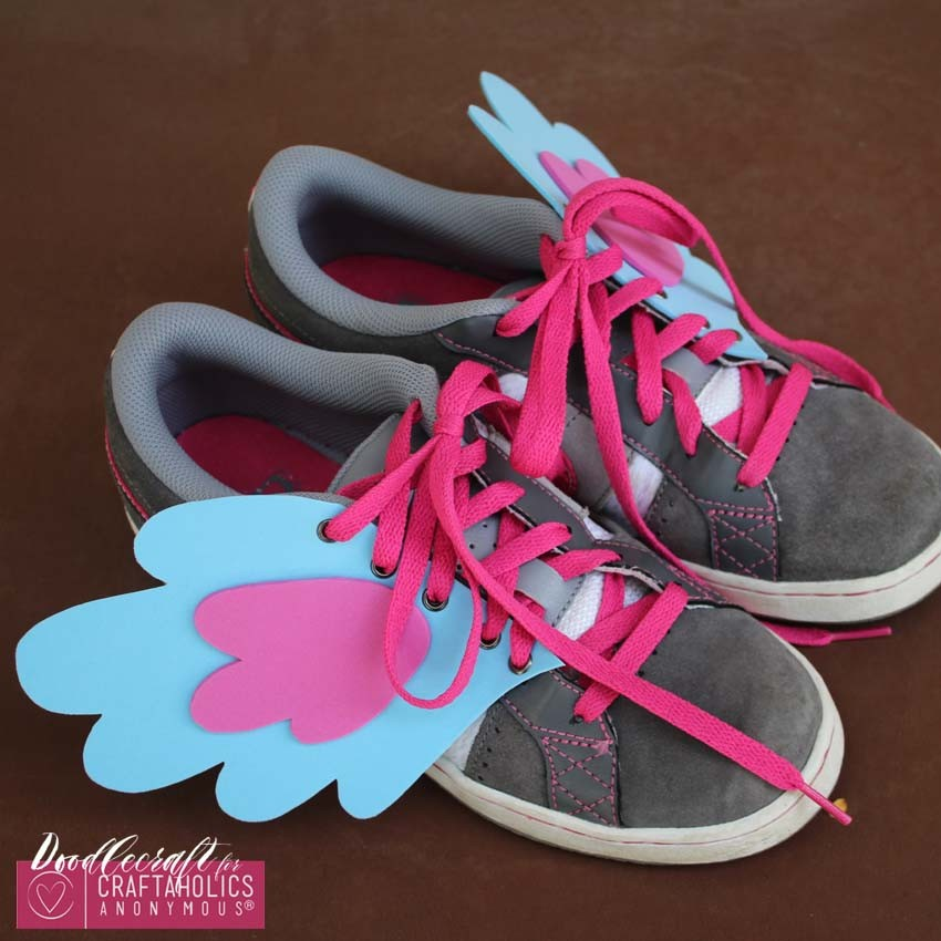 DIY pony shoe wings easy diy foam eyelets fabulous footwear my little pony on www.Craftaholicsanonymous.net