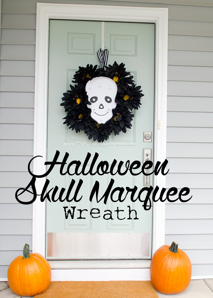 DIY Skull Marquee Halloween Wreath || Love that the lights turn on and glow in the dark.Perfect for Halloween night! found on www.CraftaholicsAnonymous.net