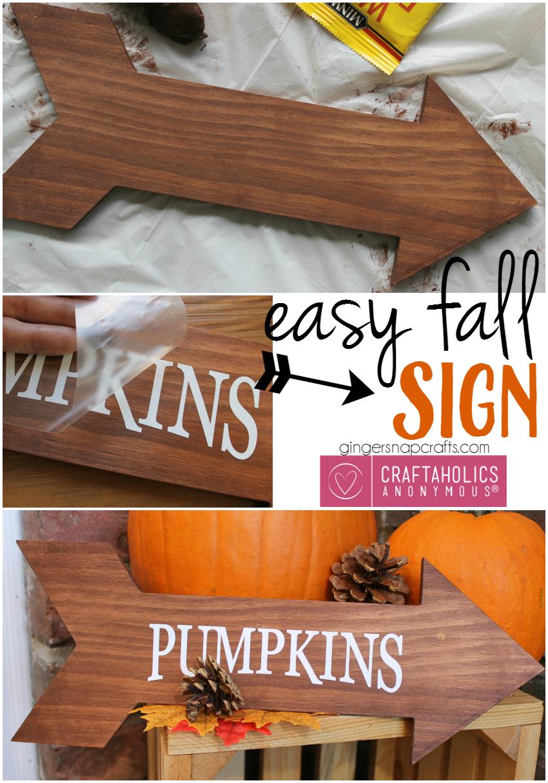 Easy Fall Craft idea :: Wood Arrow Pumpkins sign tutorial on www.craftaholicsanonymous.net