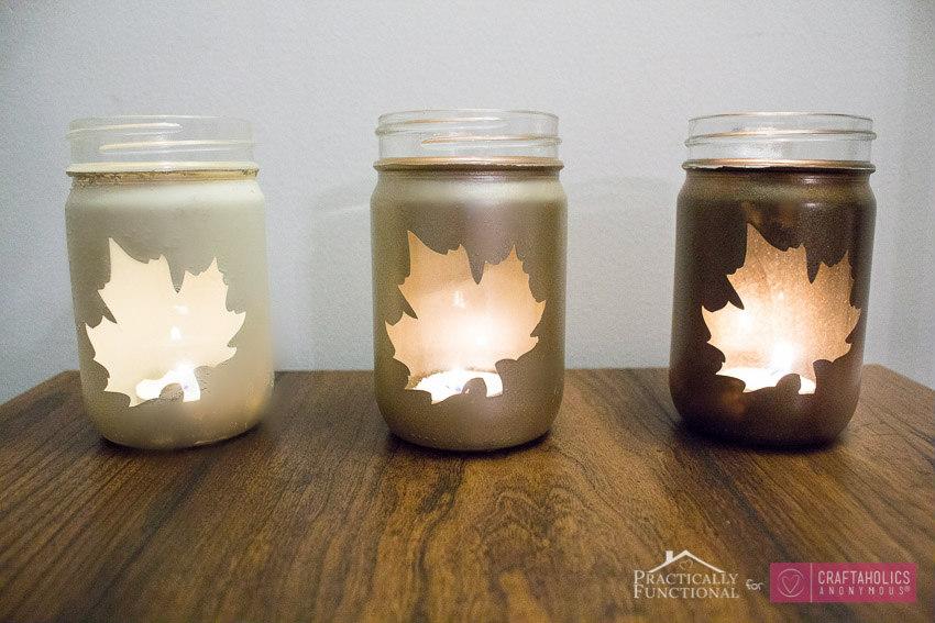Fall Mason Jar Luminaries tutorial