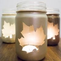 DIY Fall Leaf Mason Jar Luminaries tutorial