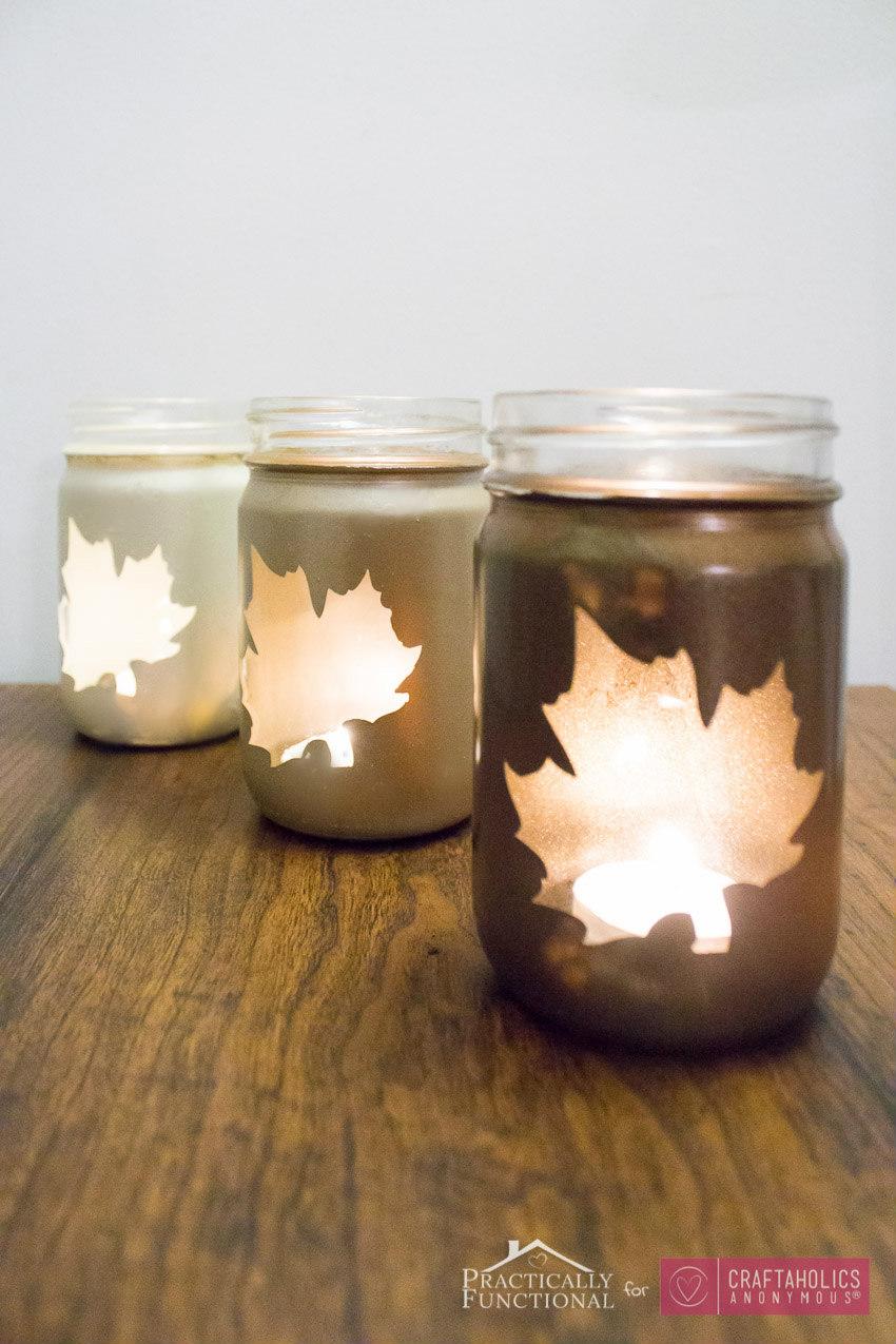 DIY Fall candle luminary tutorial :: Mason Jars + fall leaves + ombre = love!