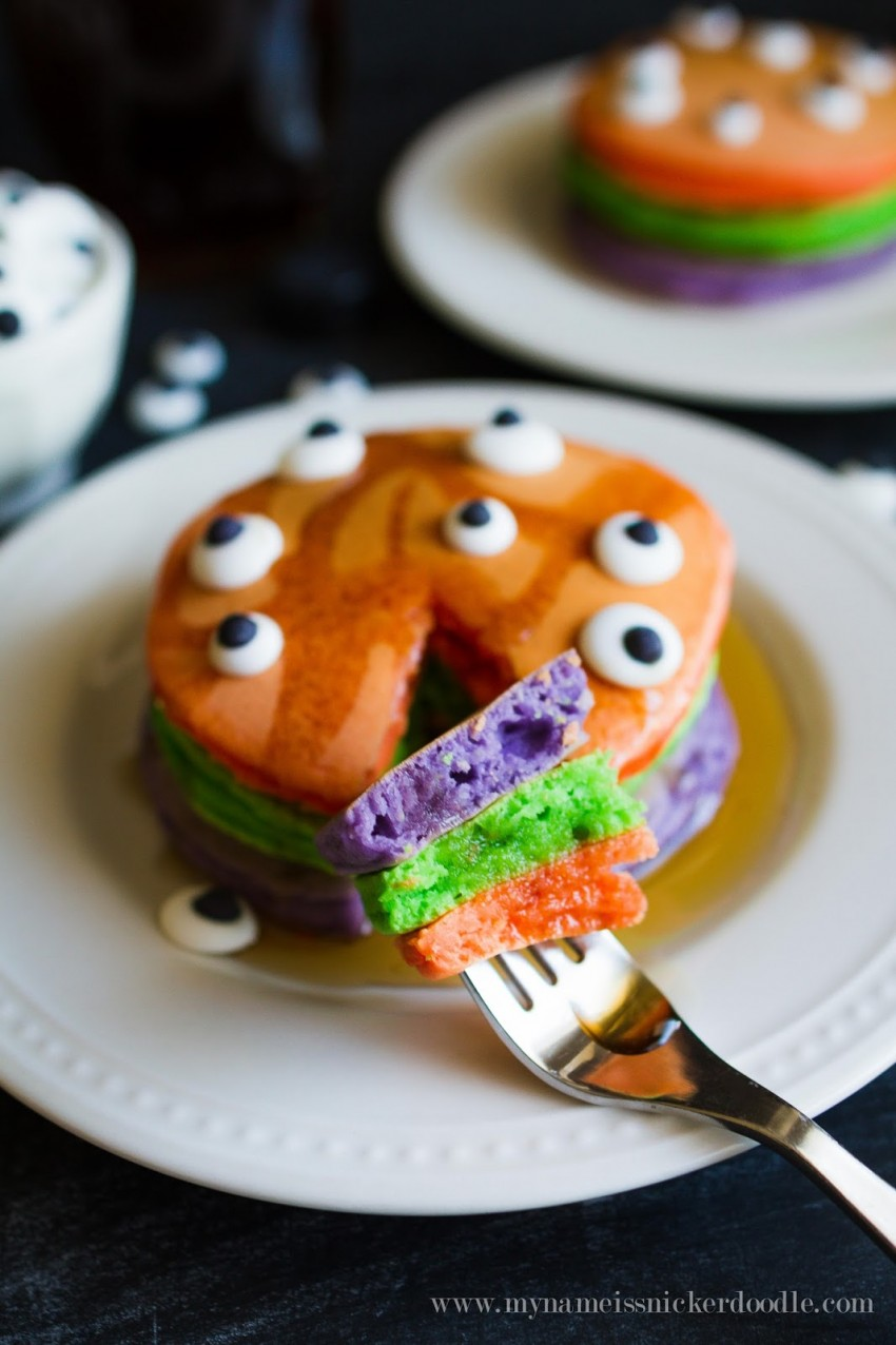 Halloween Pancakes in purple, green and orange colors. Perfect for Trick-or-treat night!