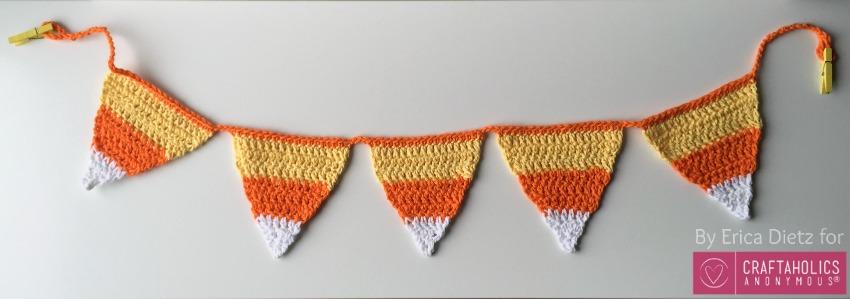 candy corn crochet bunting