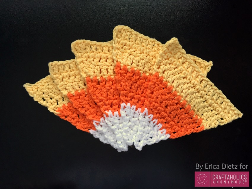 How to crochet candy corn for Halloween craft