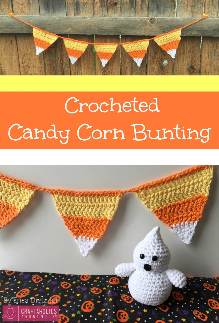 crocheted candy corn bunting
