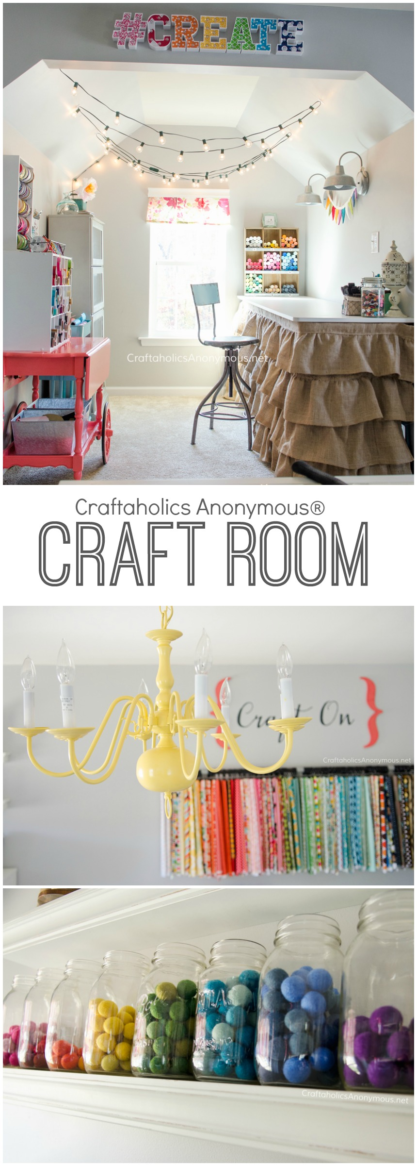 Dream Craft Room with loads of awesome craft room storage and organization ideas! a MUST SEE craft room! www.CraftaholicsAnonymous.net