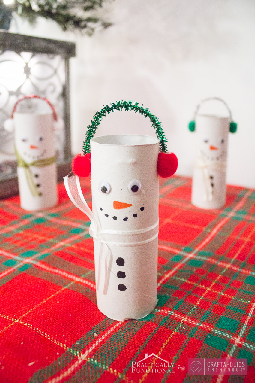 Toilet Paper Snowmen Winter craft idea for kids
