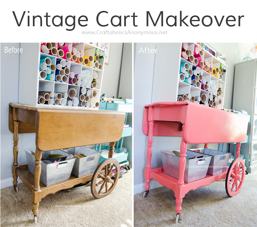 Vintage Cart Makeover || painted it glossy coral and put in her craft room to store vinyl