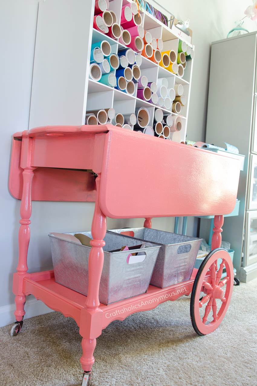 Craft Cart that stores vinyl. You have to see the transformation this cart went through! Awesome makeover.