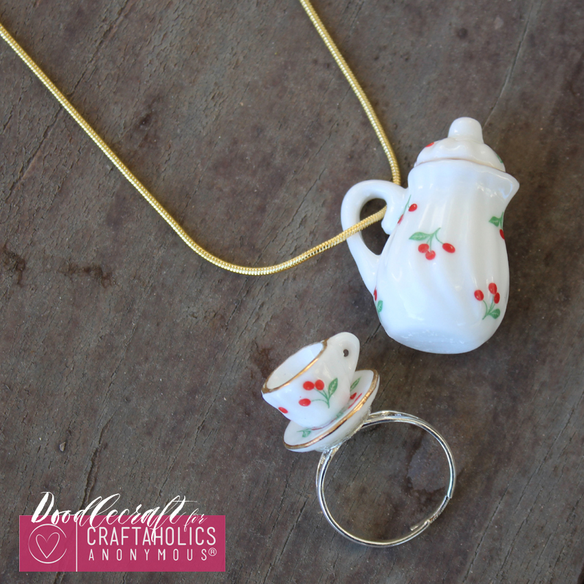 teacup tea set teapot jewelry easy diy heirloom ring necklace handmade gift (1)