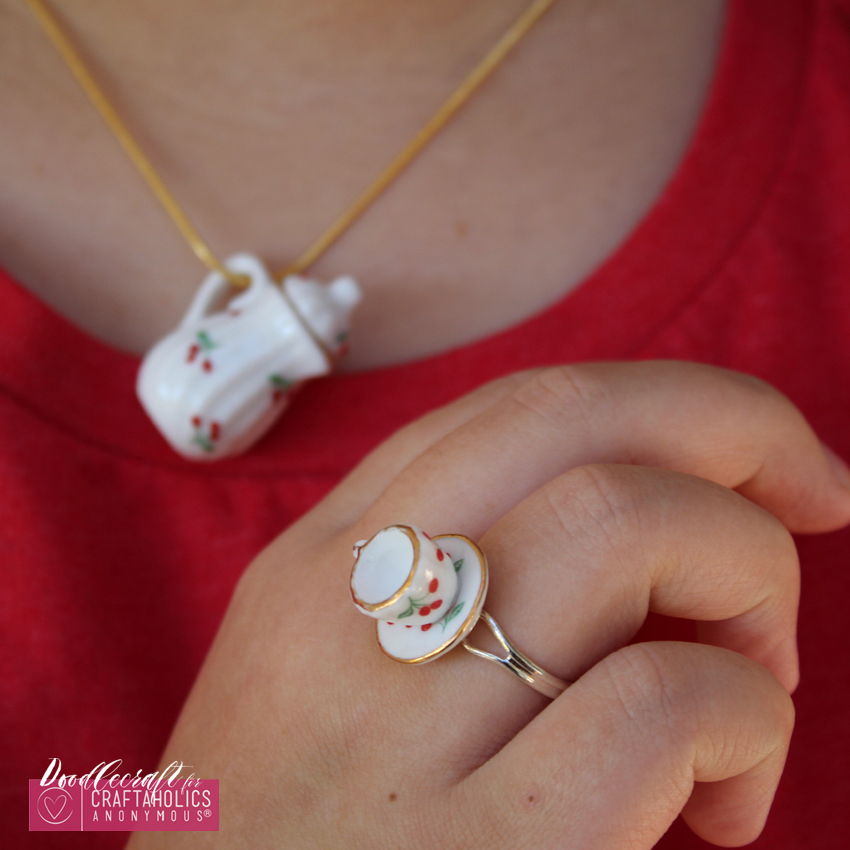 teacup tea set teapot jewelry easy diy heirloom ring necklace handmade gift (6)
