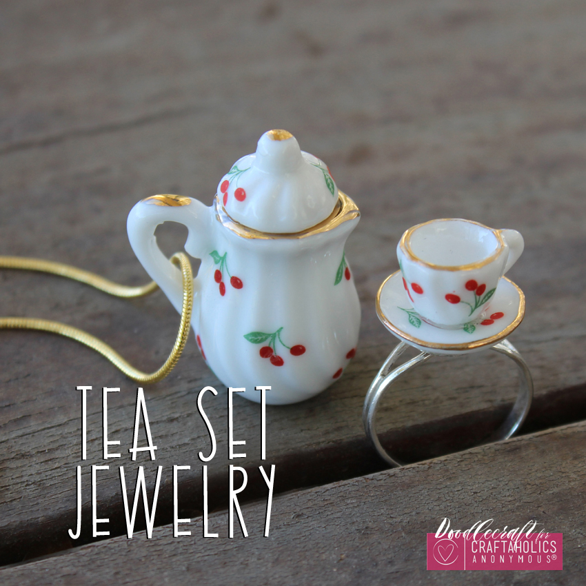 teacup tea set teapot jewelry easy diy heirloom ring necklace handmade gift (8)
