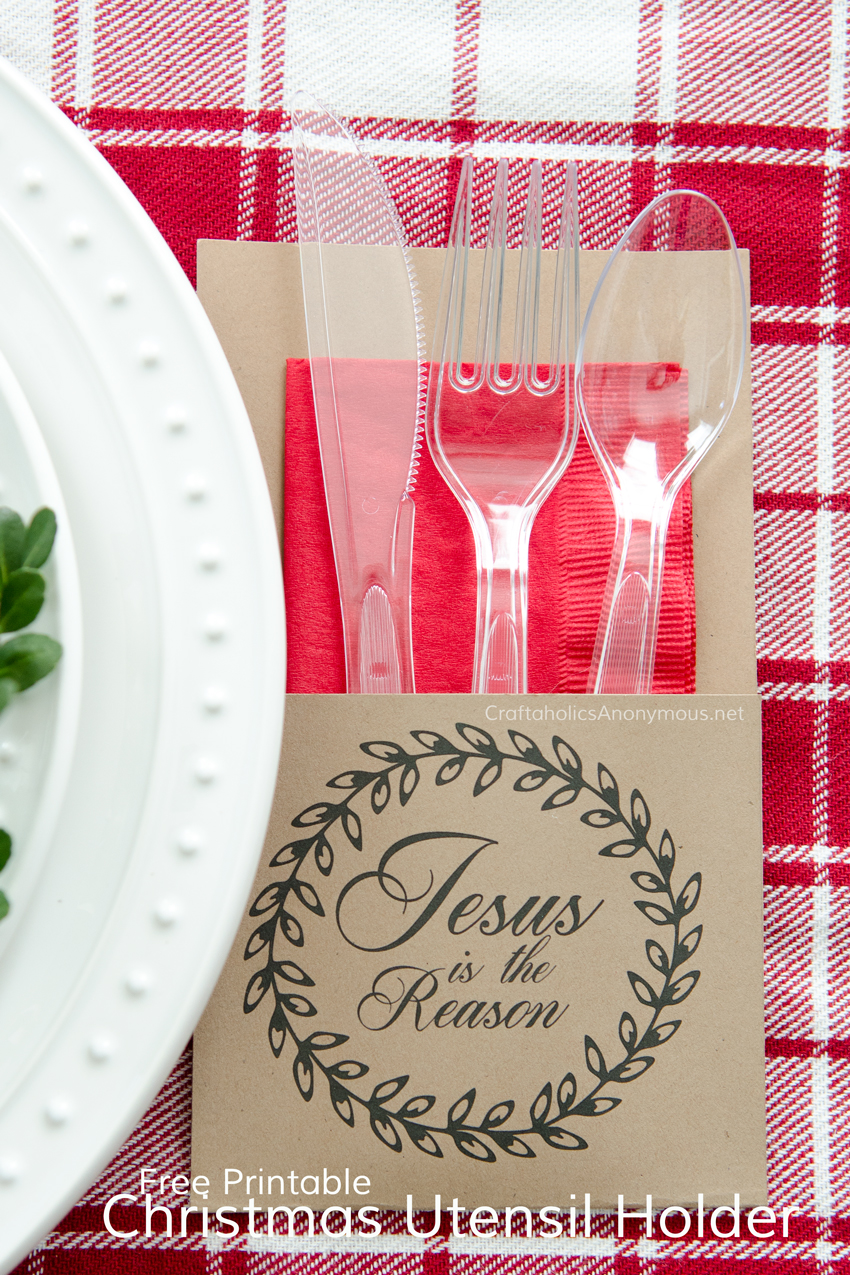 Christmas Utensil Holders Free Printable download. Print these off and whip up easy utensil holders for your holiday party! 4 designs to pick from