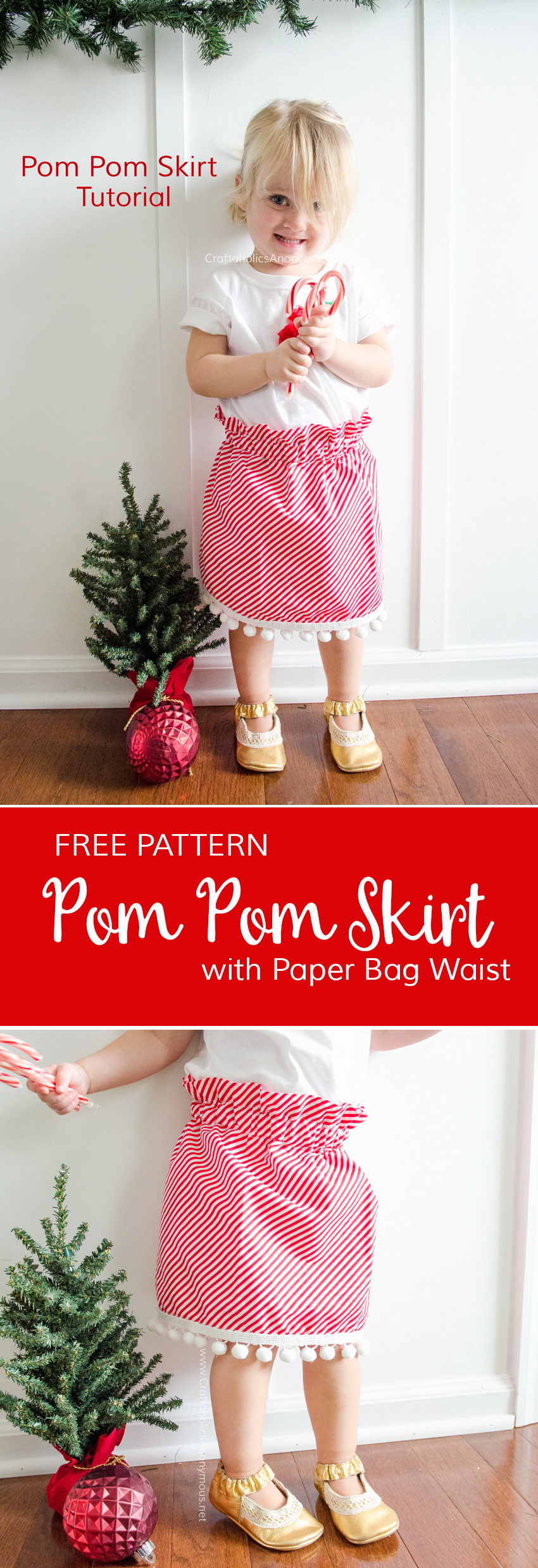 DIY Christmas Skirt tutorial with pom poms and a Paper Bag Waist. Love the details of this simple skirt! Pom Pom Skirt tutorial Free sewing pattern www.CraftaholicsAnonymous.net
