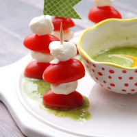 Mini Caprese Skewers with Creamy Pesto Dipping Sauce