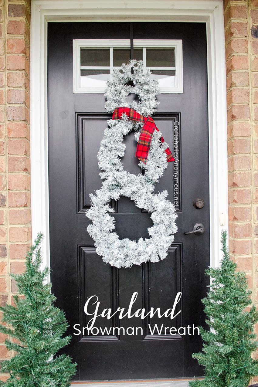 Turn a Christmas garland into a Snowman Wreath. Cheap Christmas wreath idea! Or Winter Wreath.