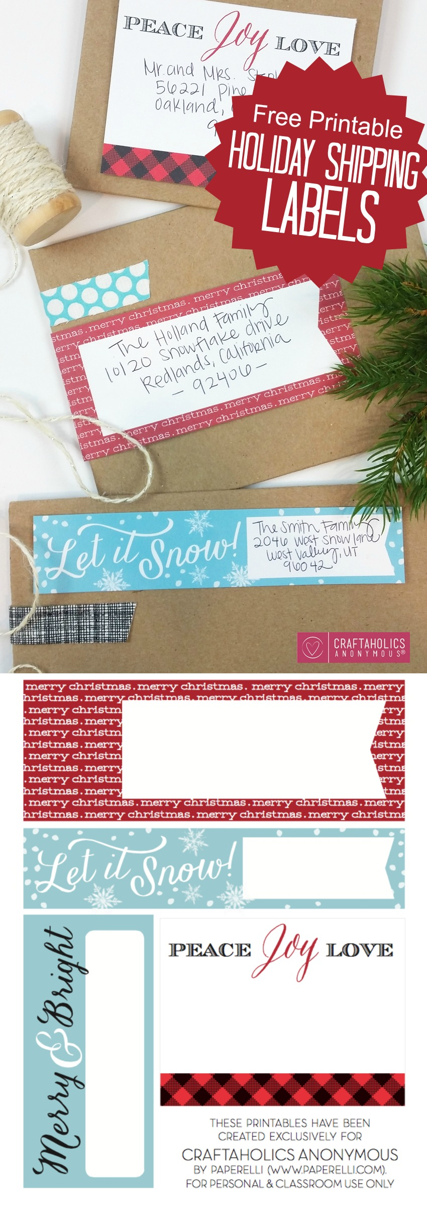 picture about Free Printable Christmas Address Labels named Craftaholics Anonymous® Xmas Mailing Labels
