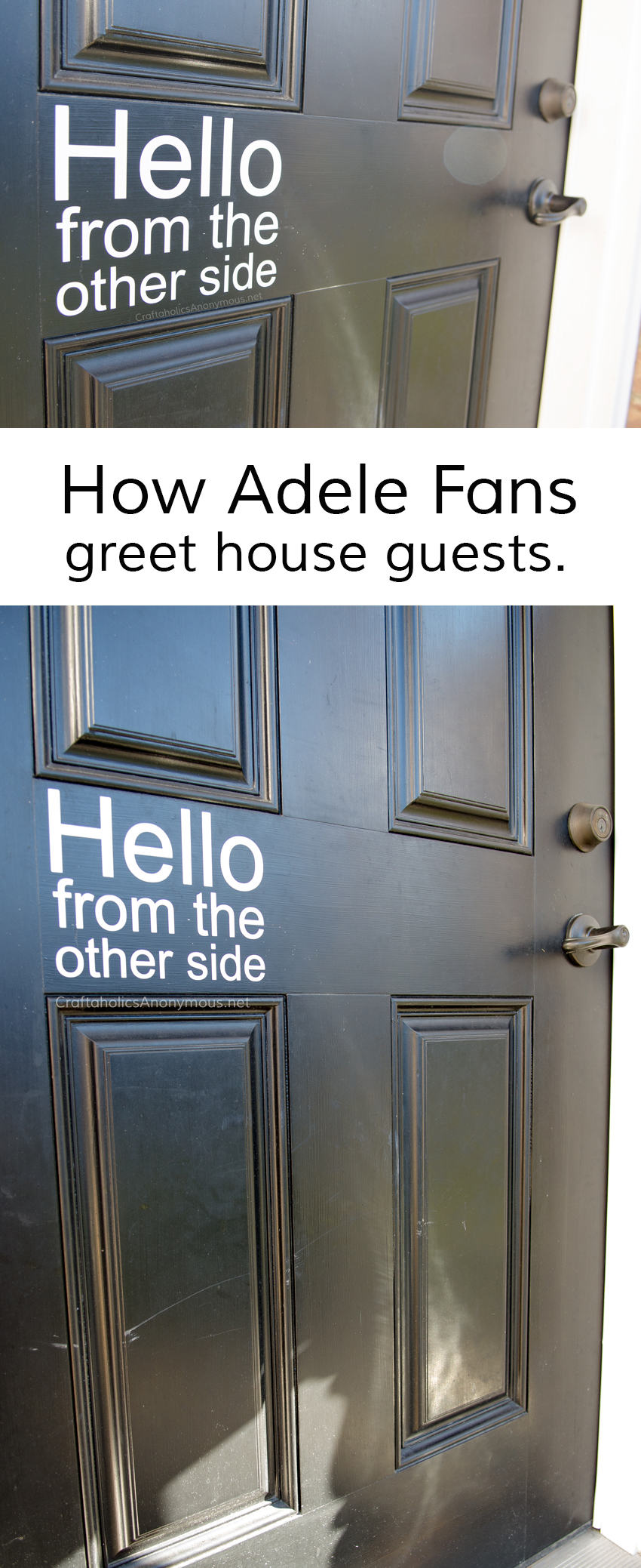 Adele Hello vinyl decal. This is PERFECT for the front door!