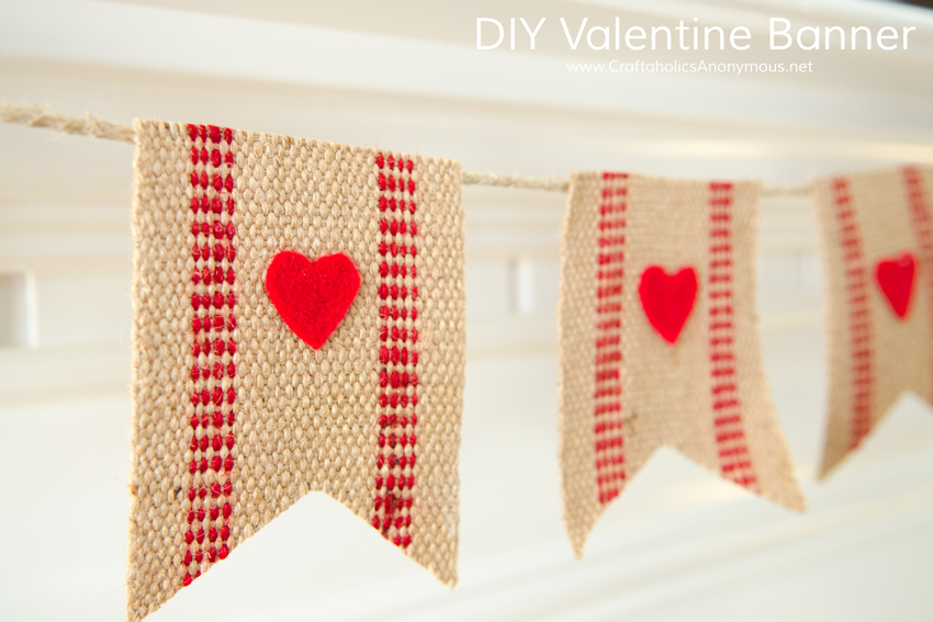 DIY Valentine Banner using jute webbing and felt hearts. Such a simple, brilliant idea!